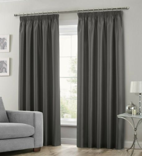 CHARCOAL COLOUR STYLISH FAUX SILK PENCIL PLEATED FULLY LINED PAIR OF CURTAINS